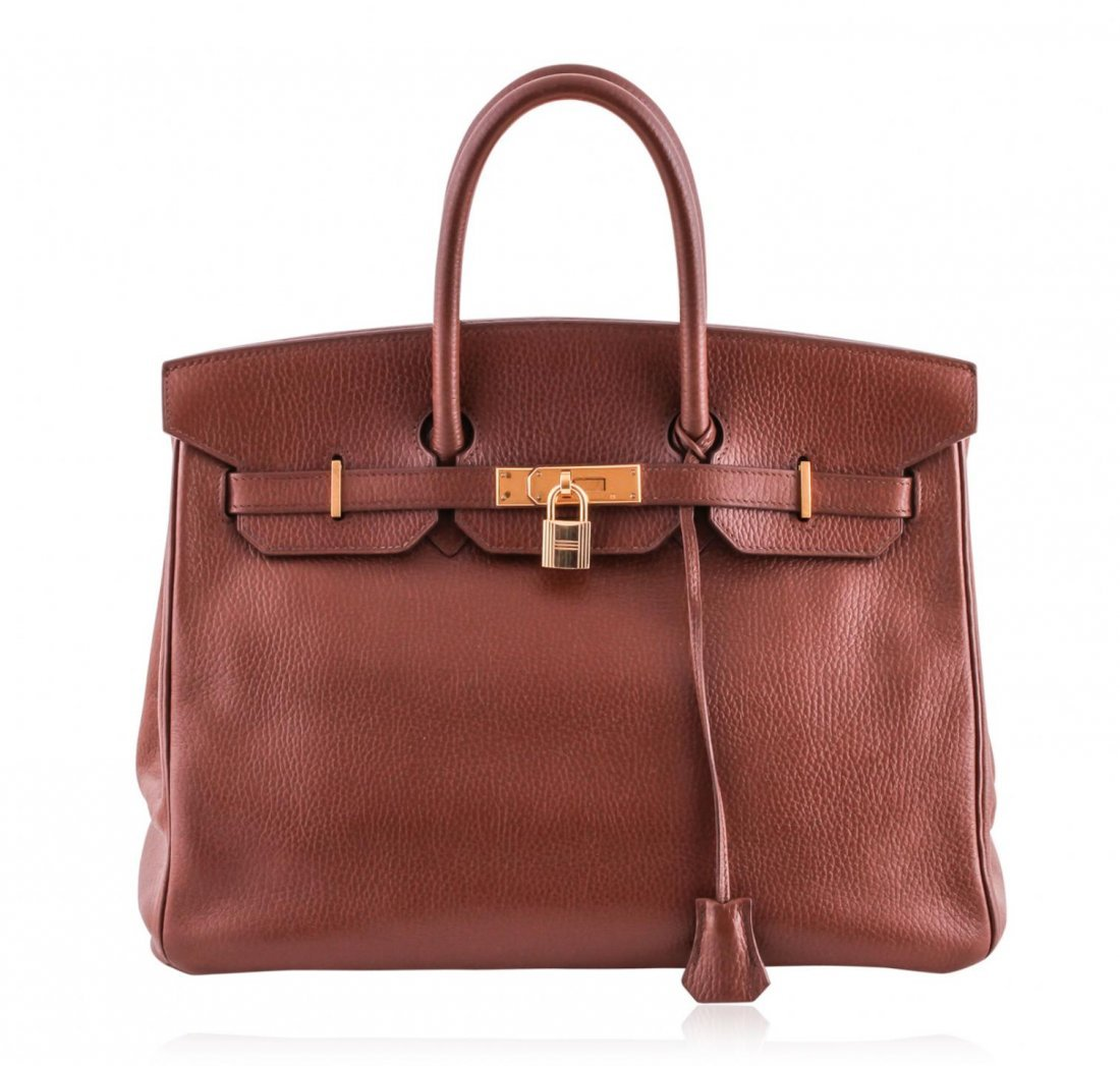 Authentic Hermes 35cm Birkin in Brown Veau Togo Leather