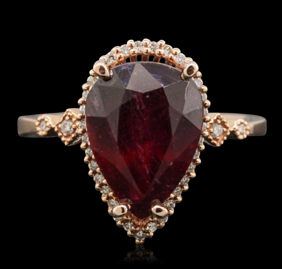 14KT Rose Gold 4.60ct Ruby and Diamond Ring A10477