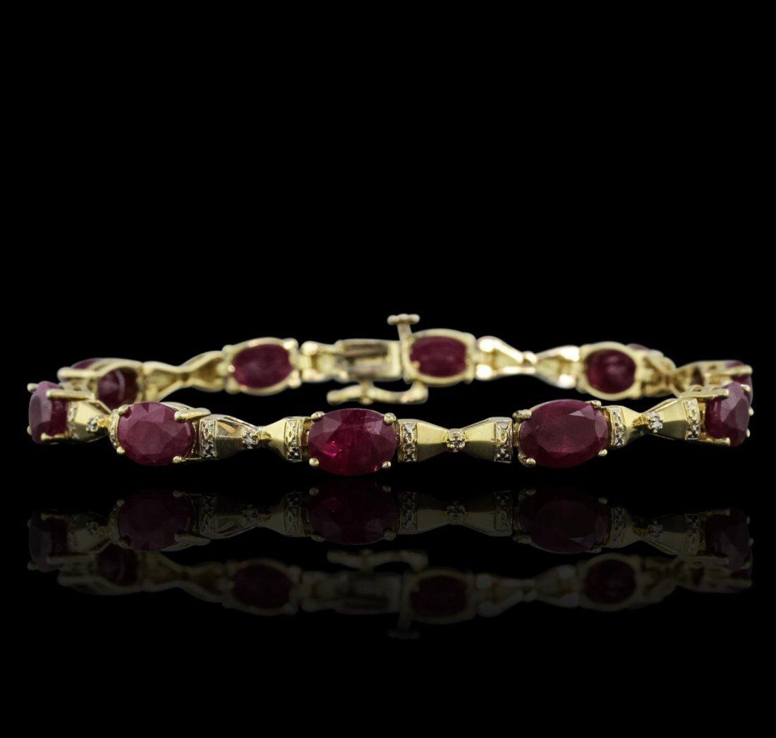 14KT Yellow Gold 15.30ctw Ruby Bracelet GB6206
