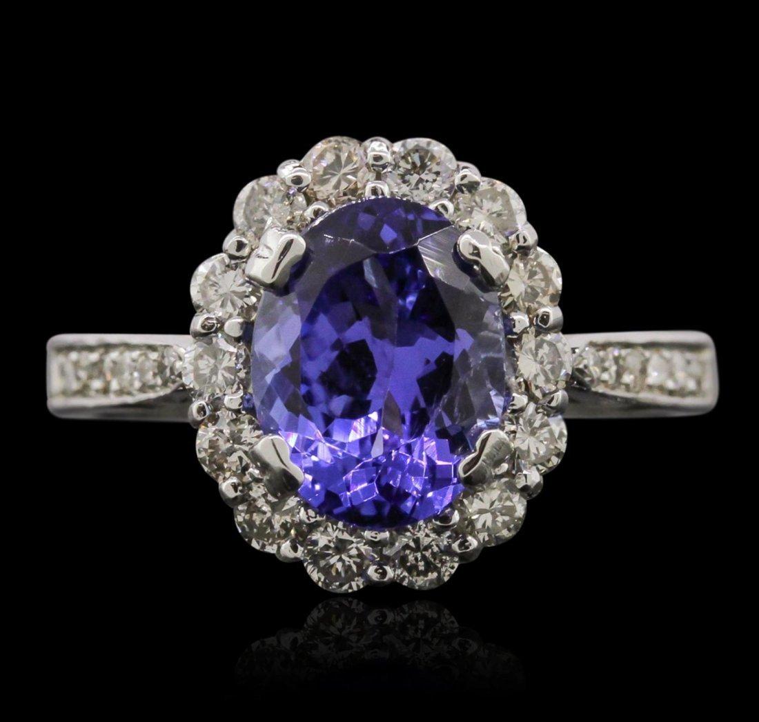 14KT White Gold 2.24ct Tanzanite and Diamond Ring A9128