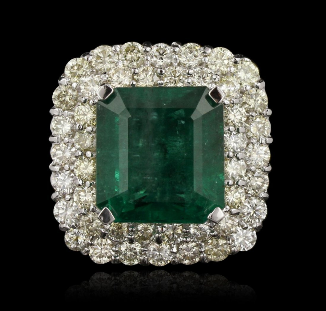 14KT White Gold 12.69ct GIA Certified Emerald and