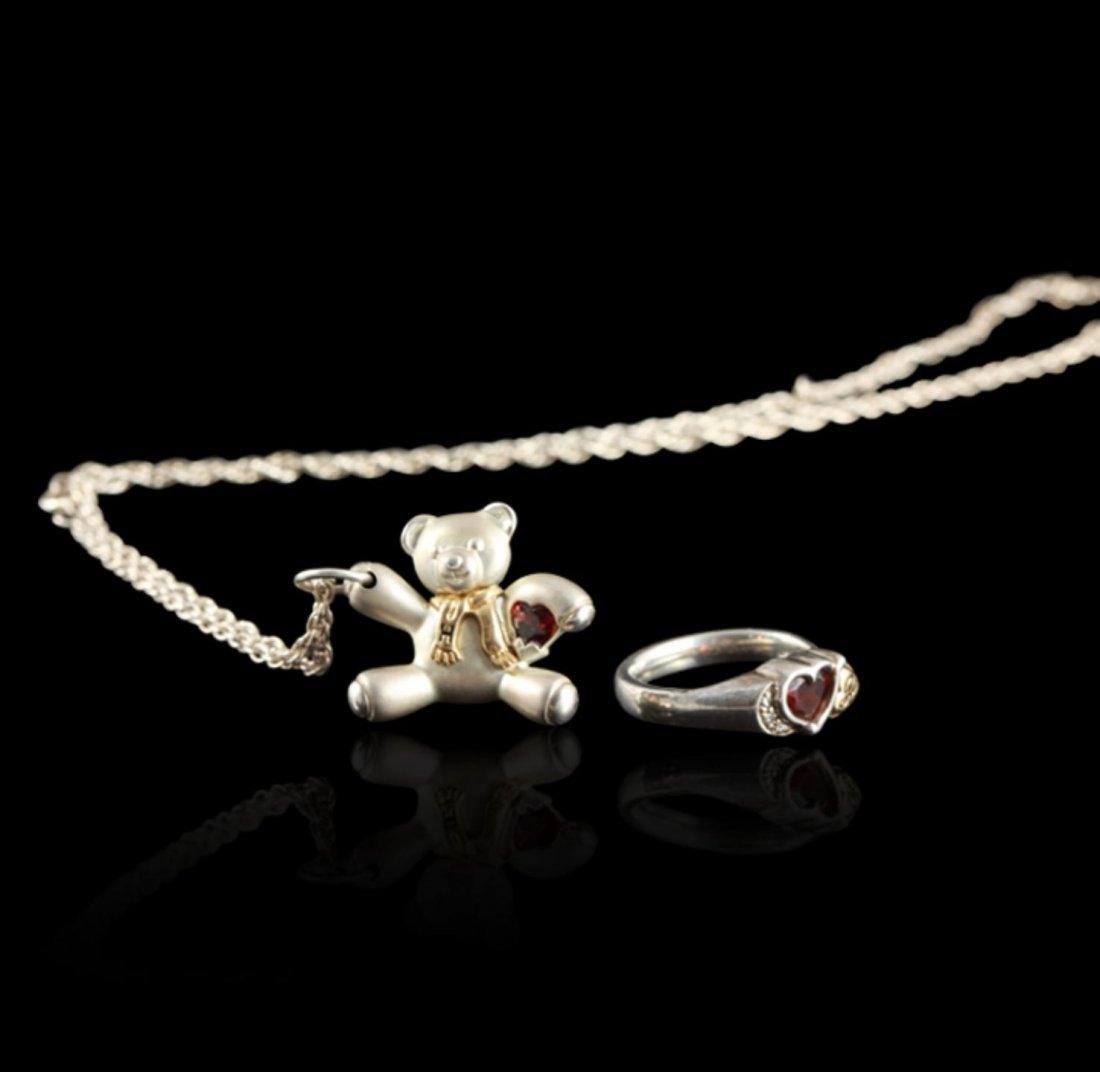 14KT Gold and Sterling Silver Keepsake Bear & Ring