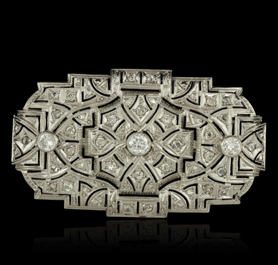 Platinum 1.47ctw Diamond Brooch A9483