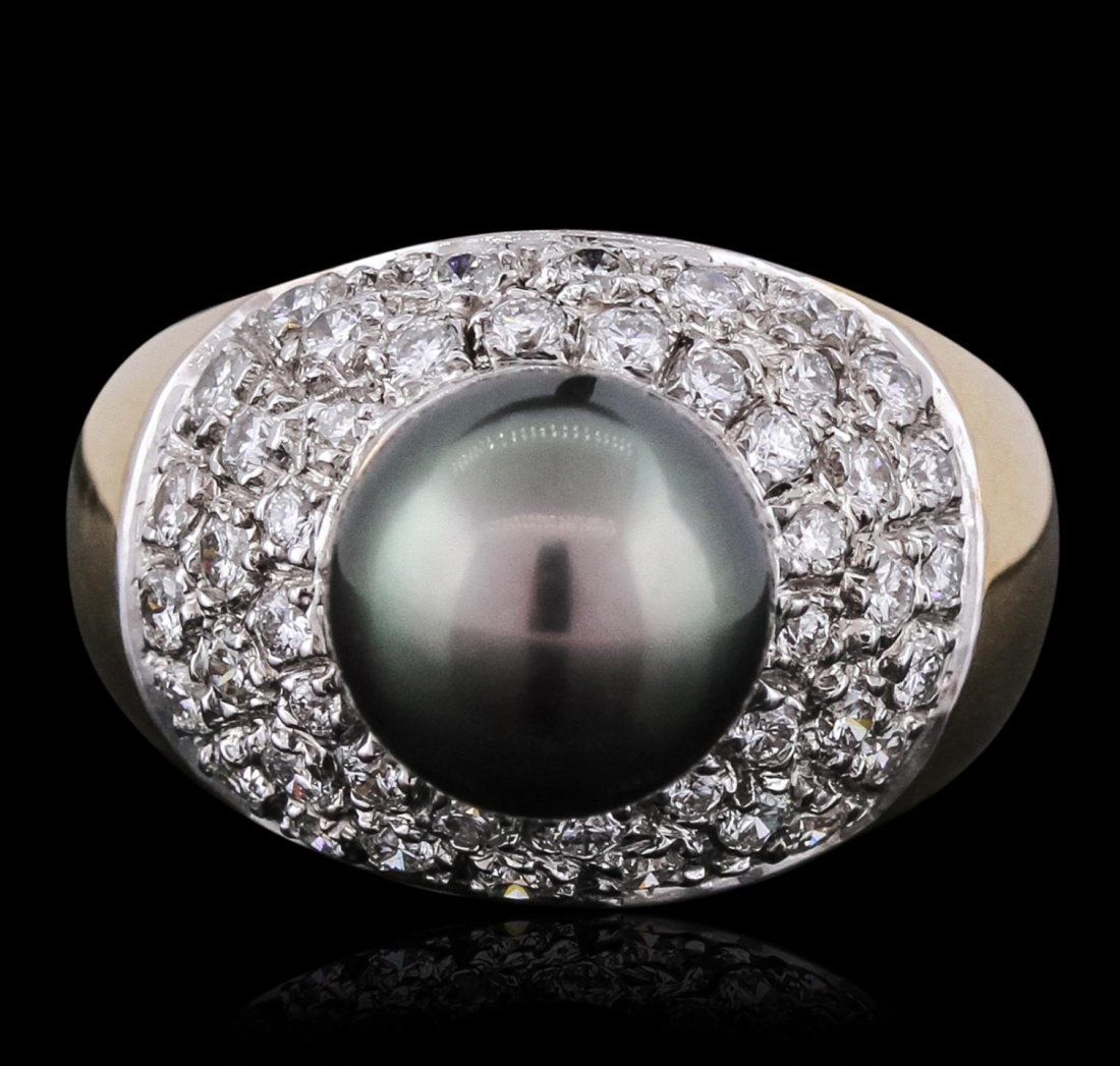 14KT Yellow Gold 9.00mm Pearl and Diamond Ring BC131