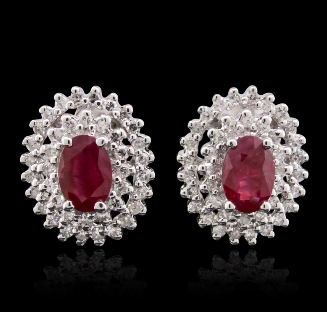 14KT White Gold 1.27ctw Ruby and Diamond Earrings