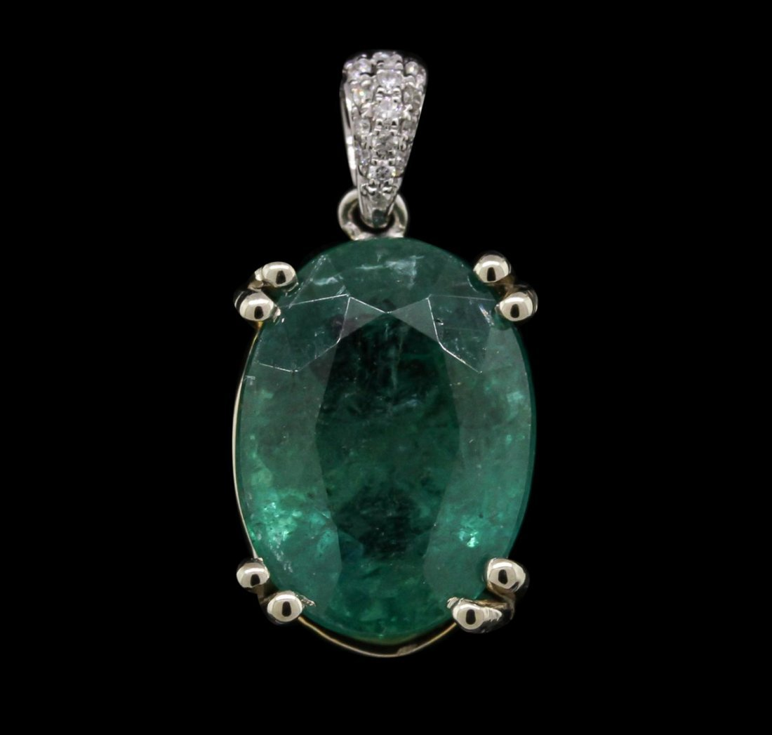 14KT Two-Tone Gold 6.80ct Emerald and Diamond Pendant
