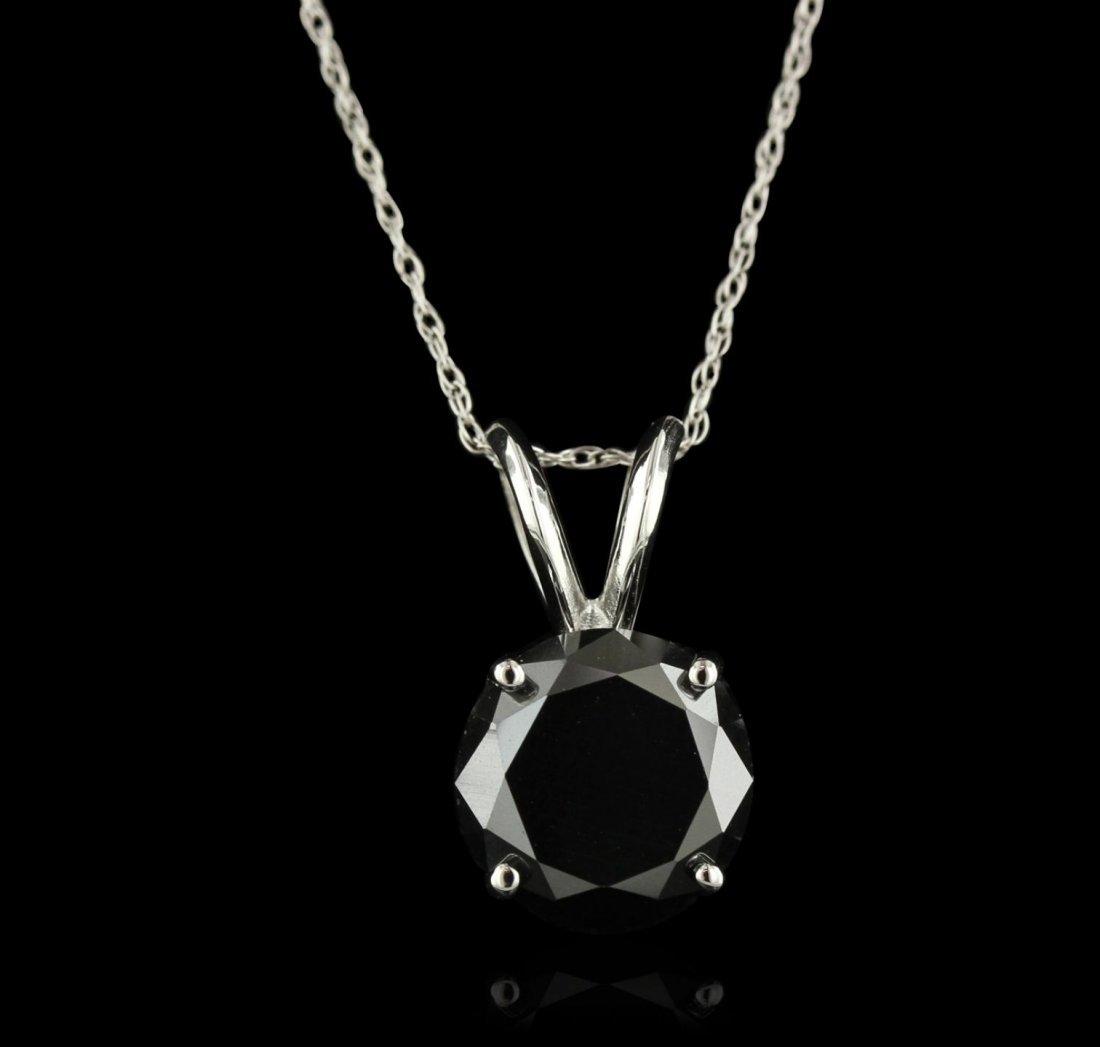 14KT White Gold 2.90ct Black Diamond Pendant With Chain