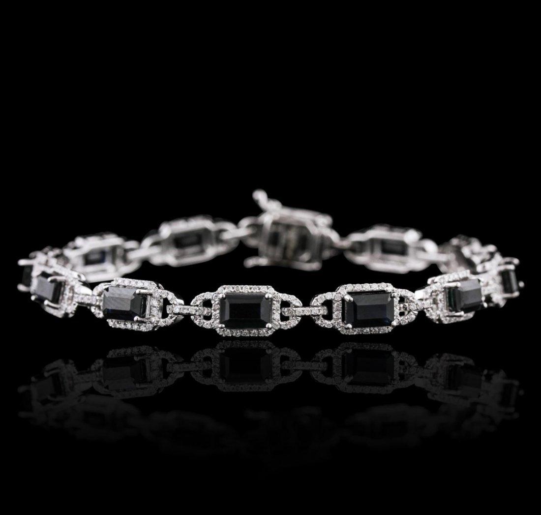 14KT White Gold 8.95ctw Sapphire and Diamond Bracelet