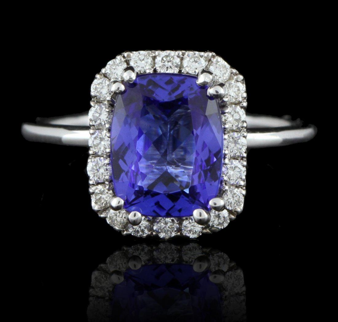 14KT White Gold 2.43ct Tanzanite and Diamond Ring A5773