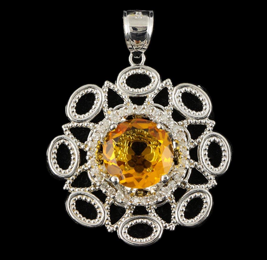 14KT White Gold 5.97ct Citrine and Diamond Pendant