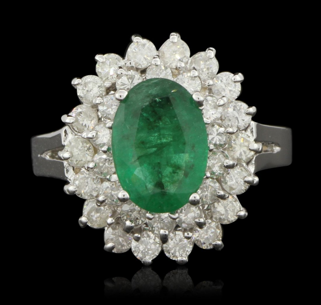 14KT White Gold 1.32ct Emerald and Diamond Ring A6146
