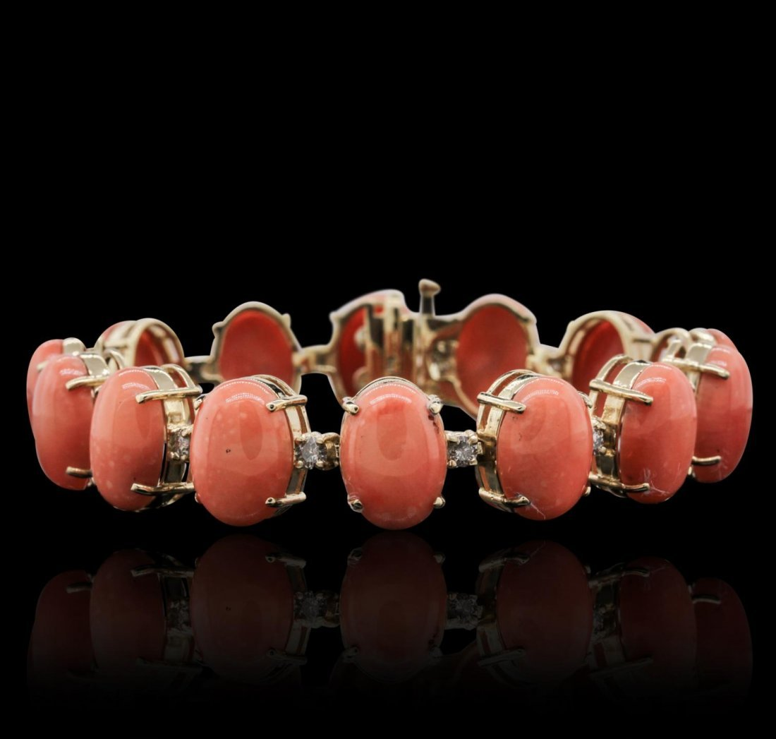 14KT Yellow Gold 64.90ctw Coral and Diamond Bracelet