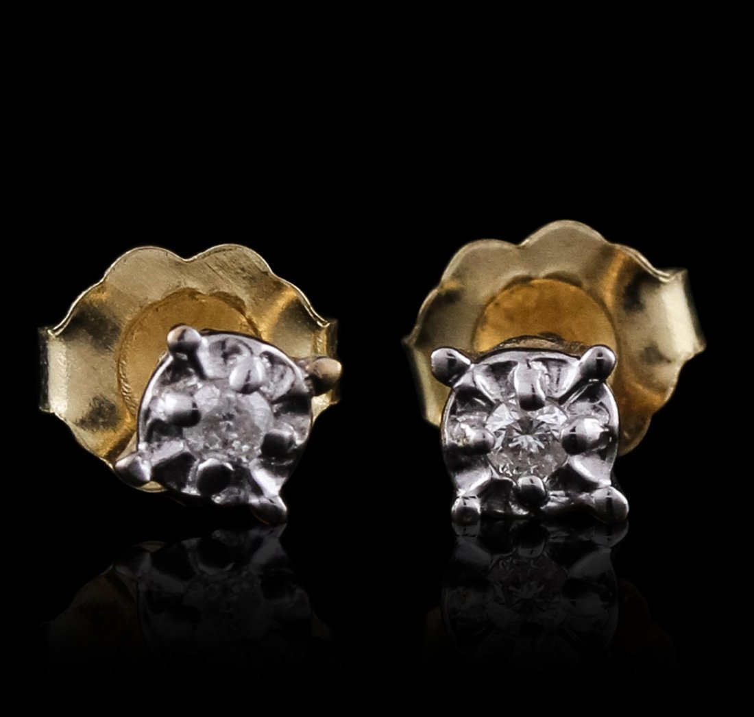 10KT Yellow Gold 0.10ctw Diamond Solitaire Earrings
