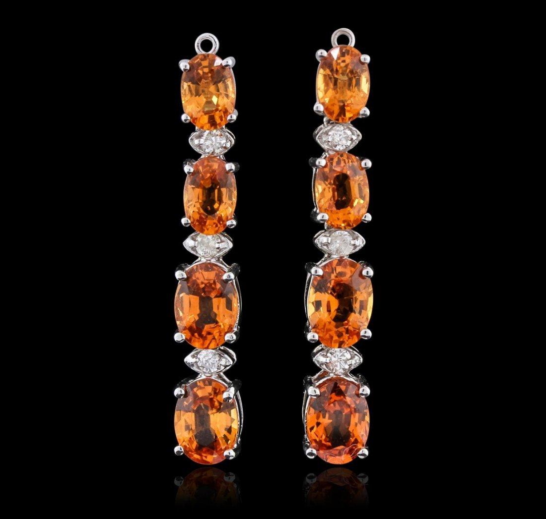 14KT White Gold 6.92ctw Orange Sapphire and Diamond