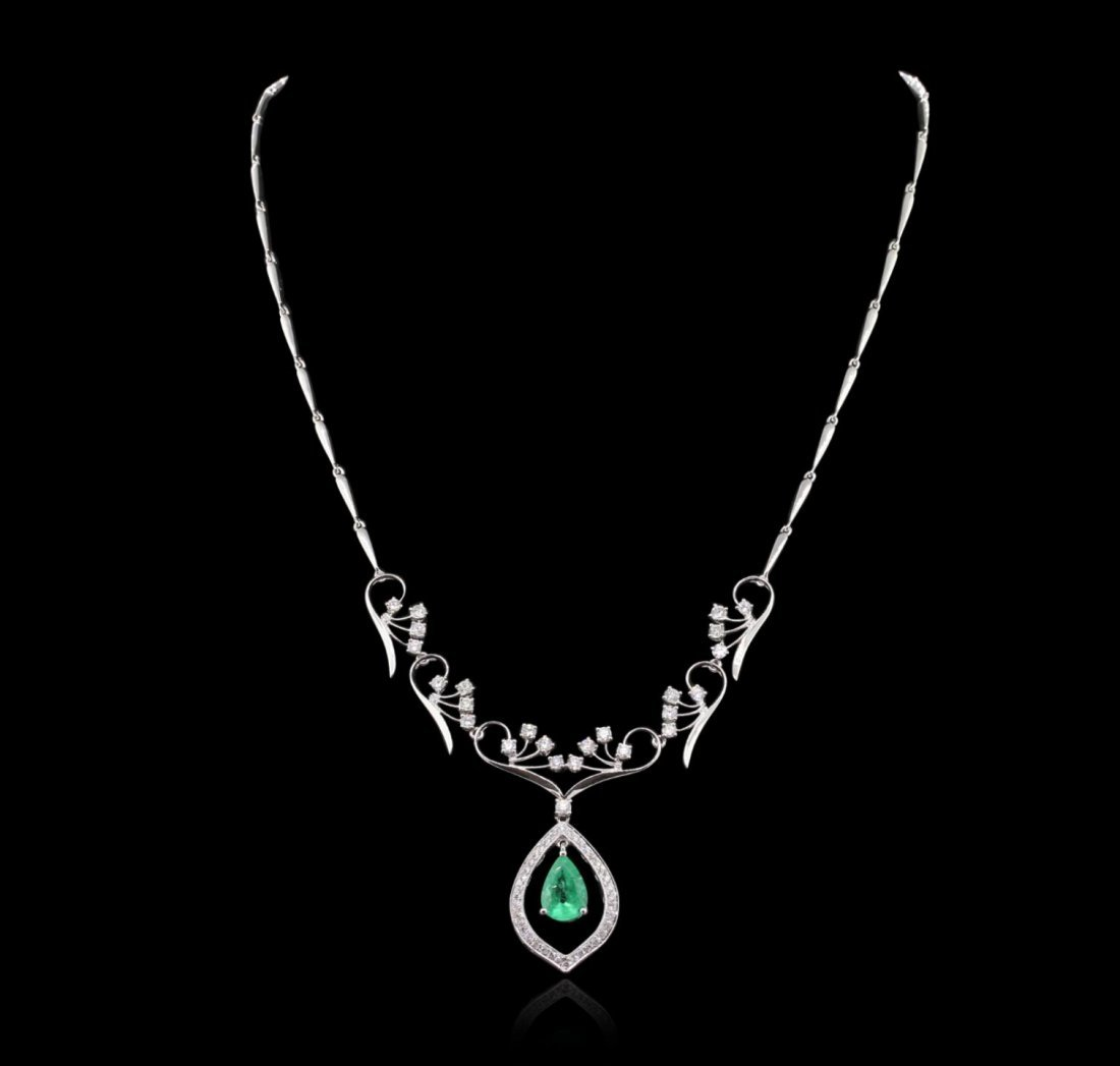 18KT White Gold 2.39ct Emerald and Diamond Necklace
