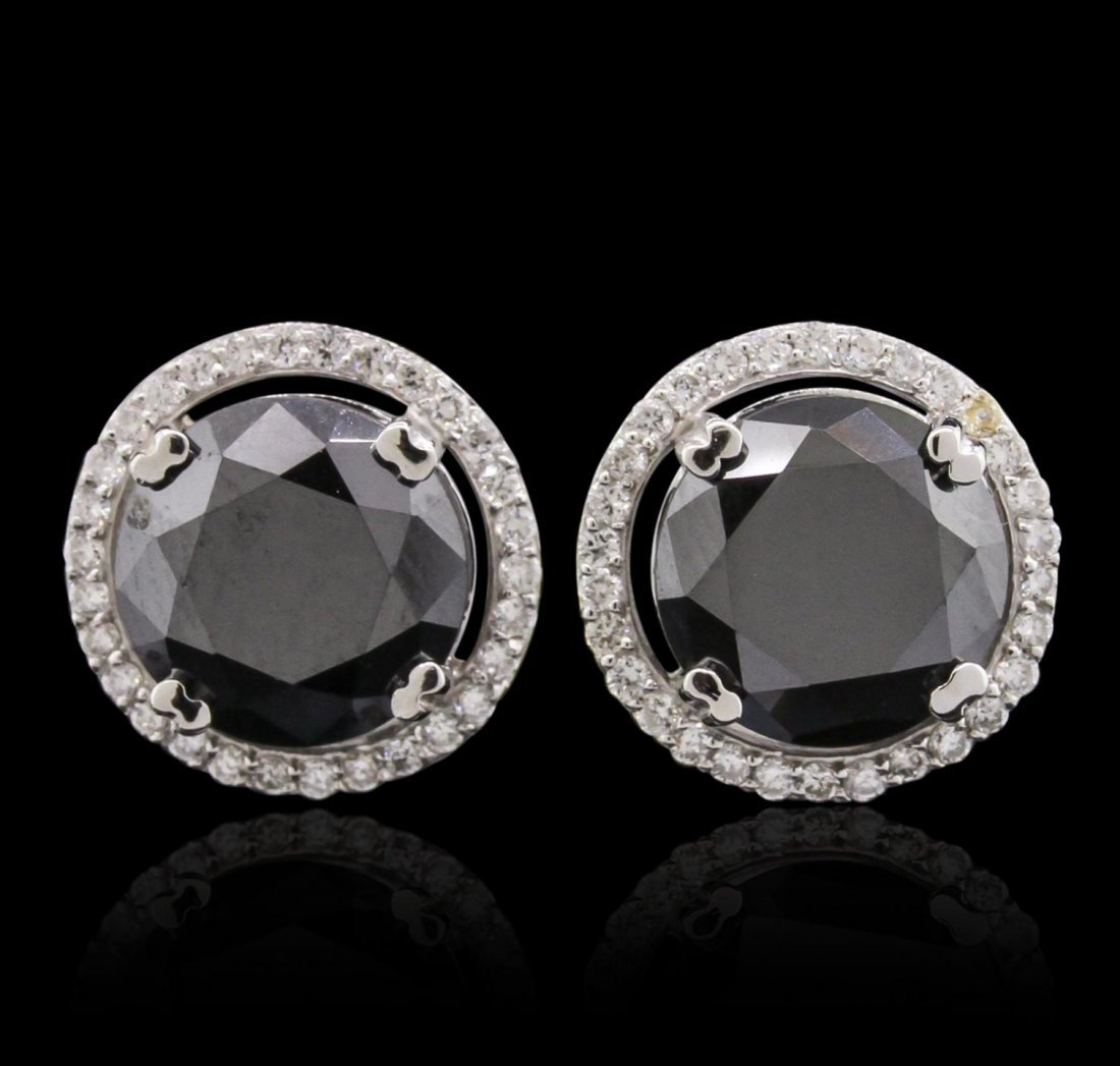 14KT White Gold 6.29ctw Black Diamond and Diamond