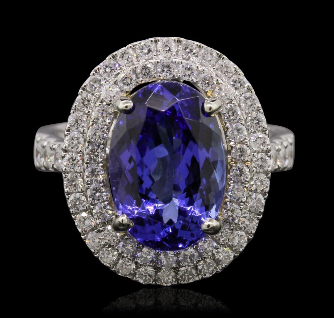 14KT Two-Tone Gold 5.72ct Tanzanite and Diamond Ring