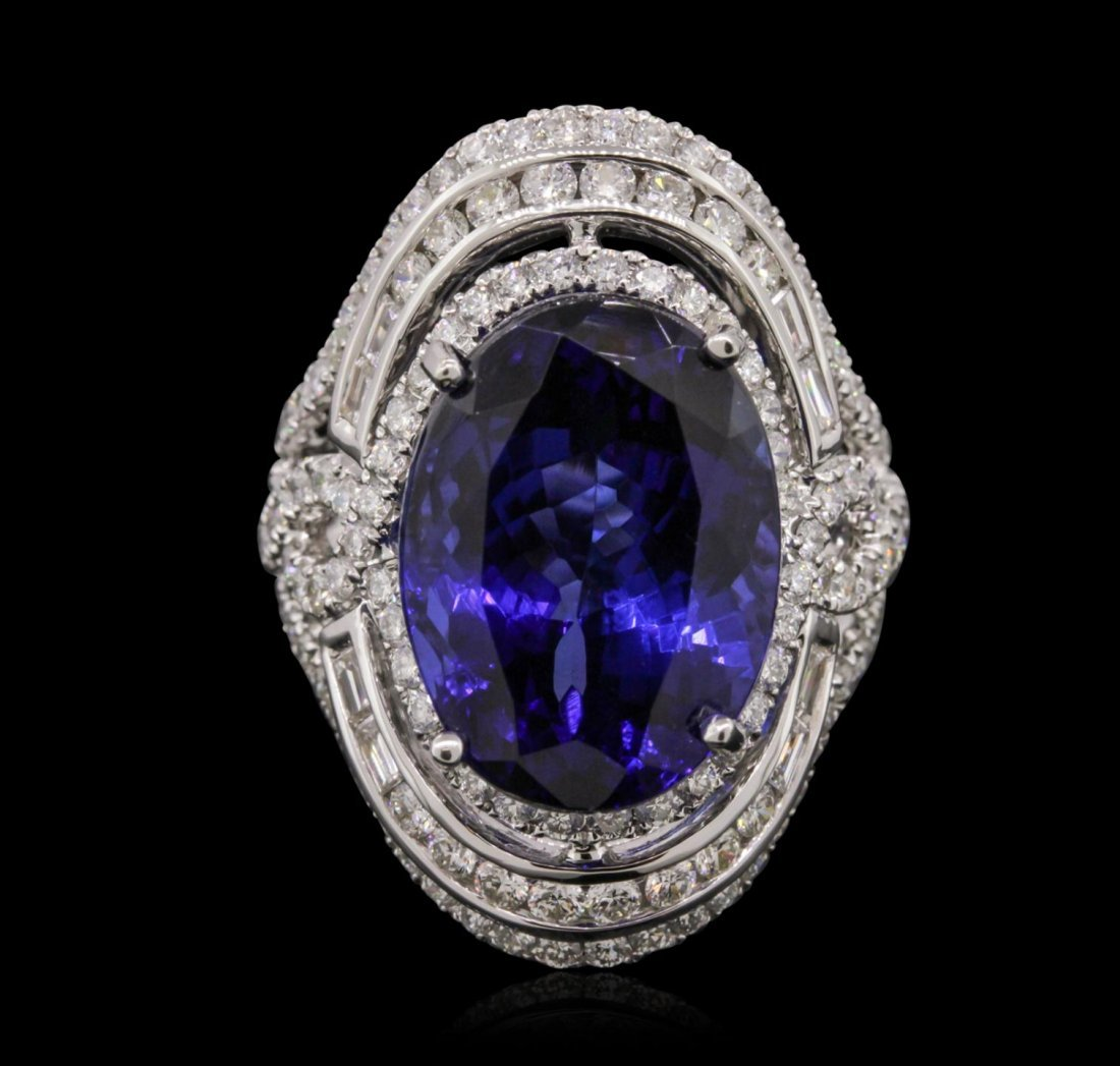 18KT White Gold GIA Certified 15.73ct Tanzanite and