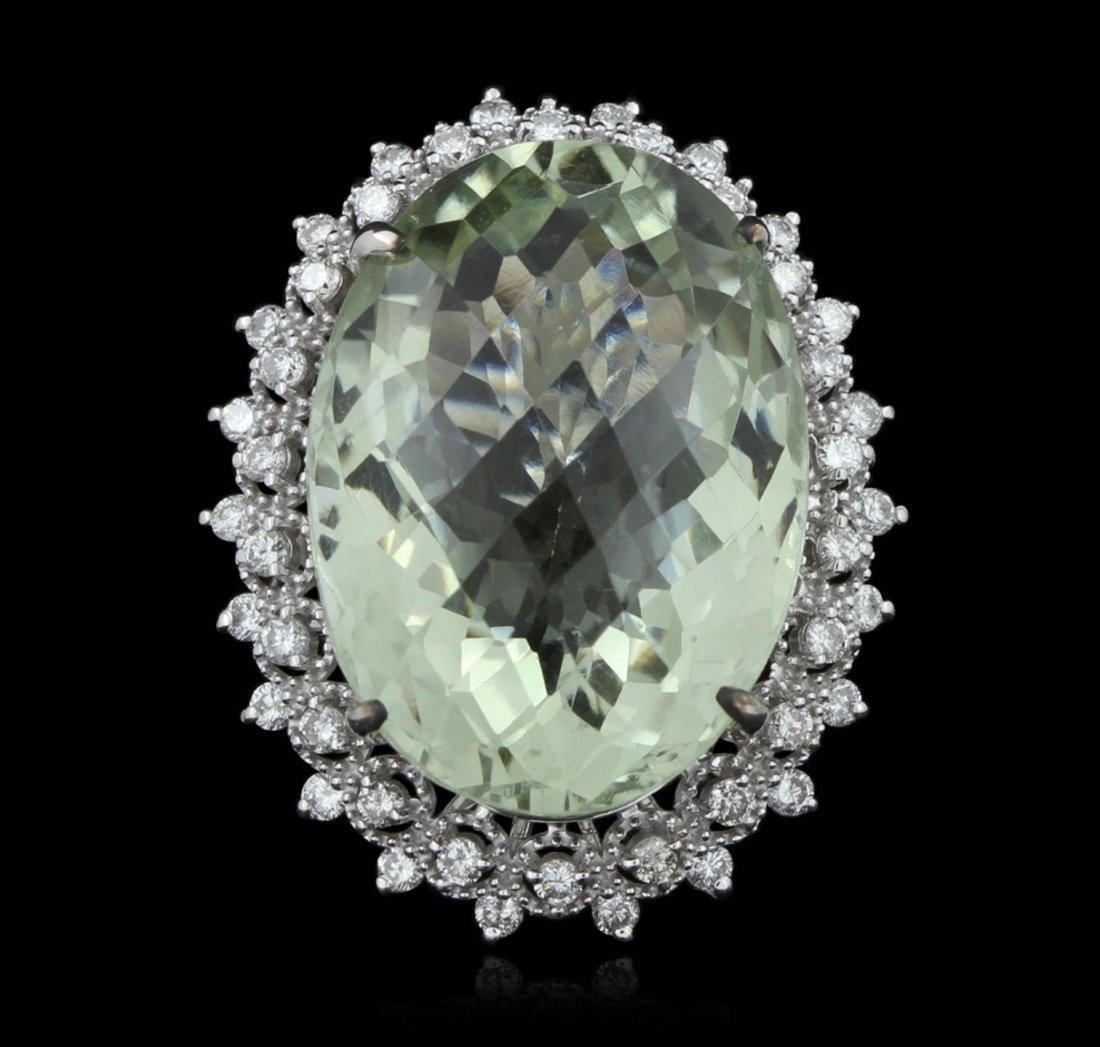 14KT White Gold 32.20ct Green Quartz & Diamond Ring