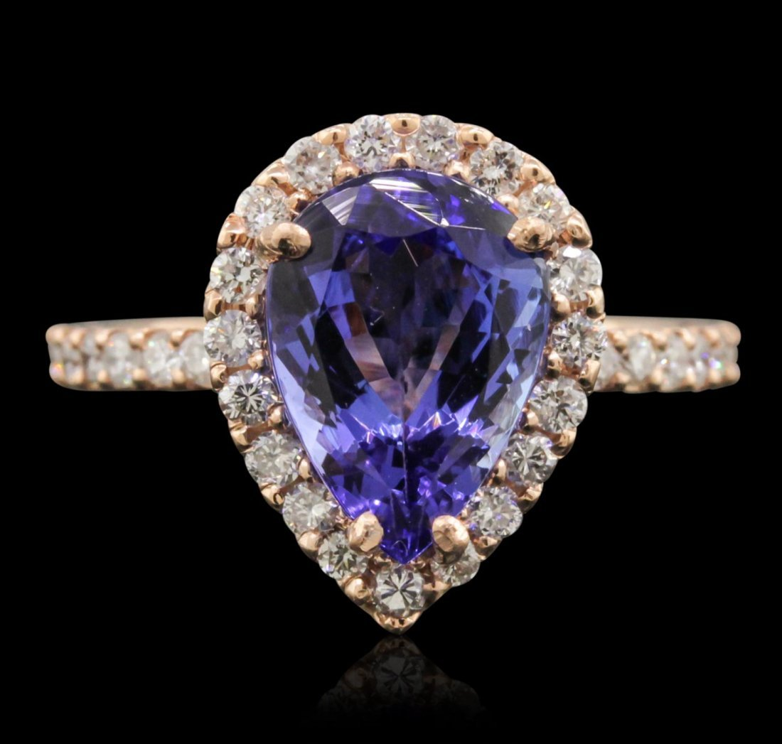 14KT Rose Gold 2.77ct Tanzanite and Diamond Ring A10465