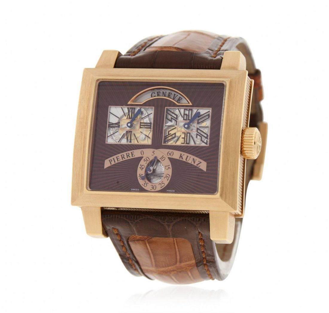 Gents Pierre Kunz 18KT Rose Gold Retrograde Wristwatch