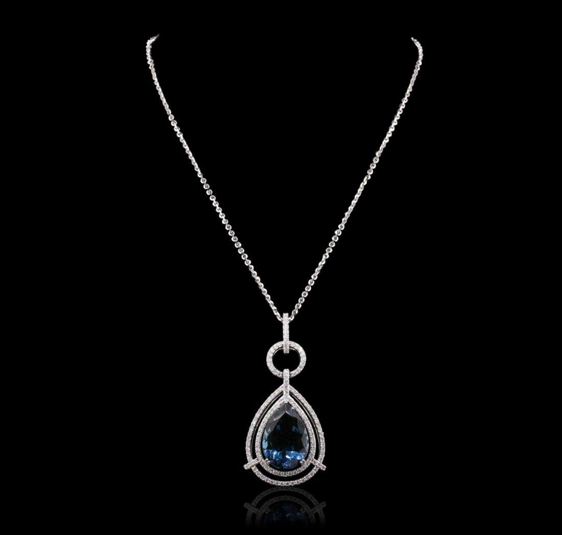 14KT White Gold 29.77ct Blue Topaz and Diamond Pendant