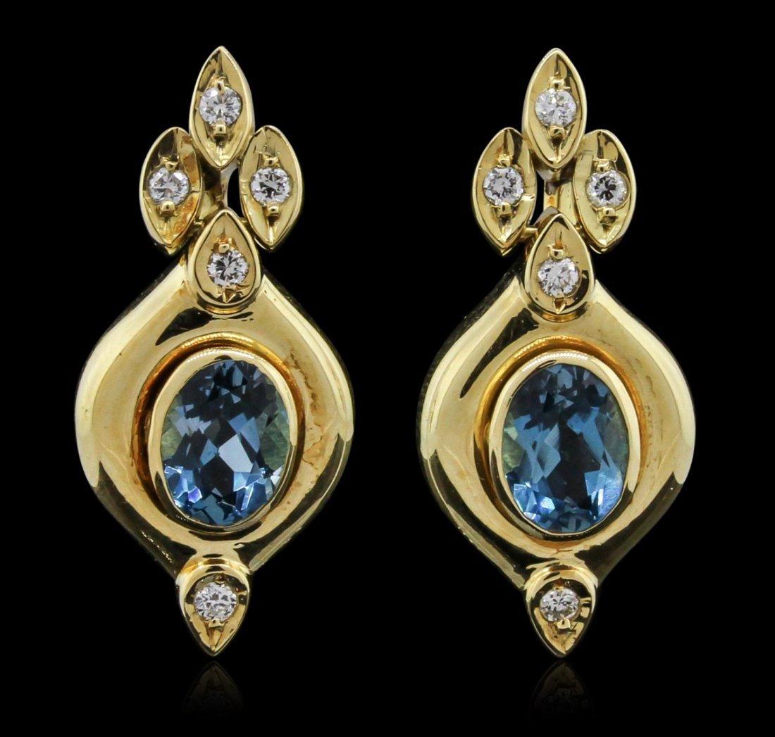 18KT Yellow Gold 2.42ctw Blue Topaz and Diamond