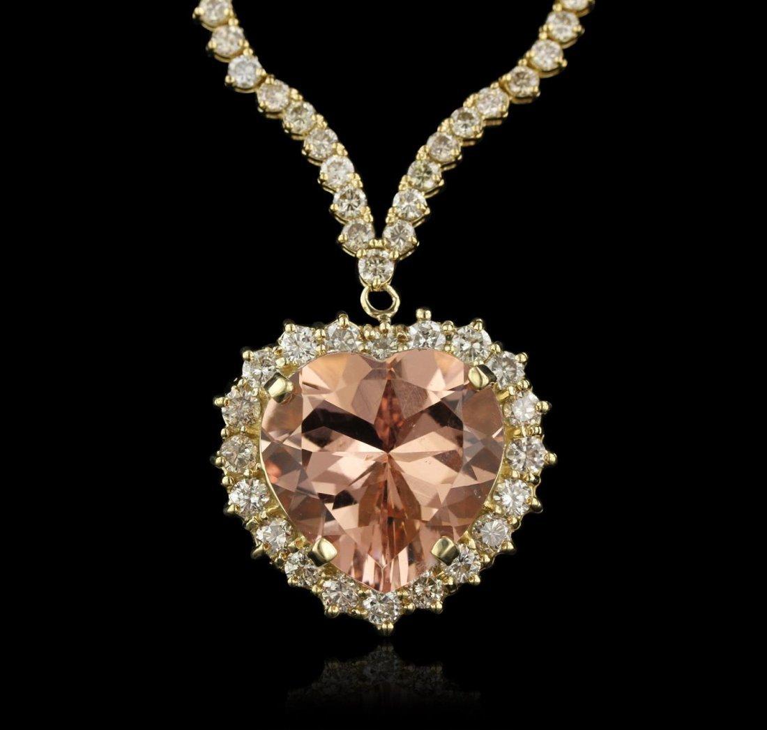 14KT Rose Gold 16.13ct GIA Cert Morganite and Diamond