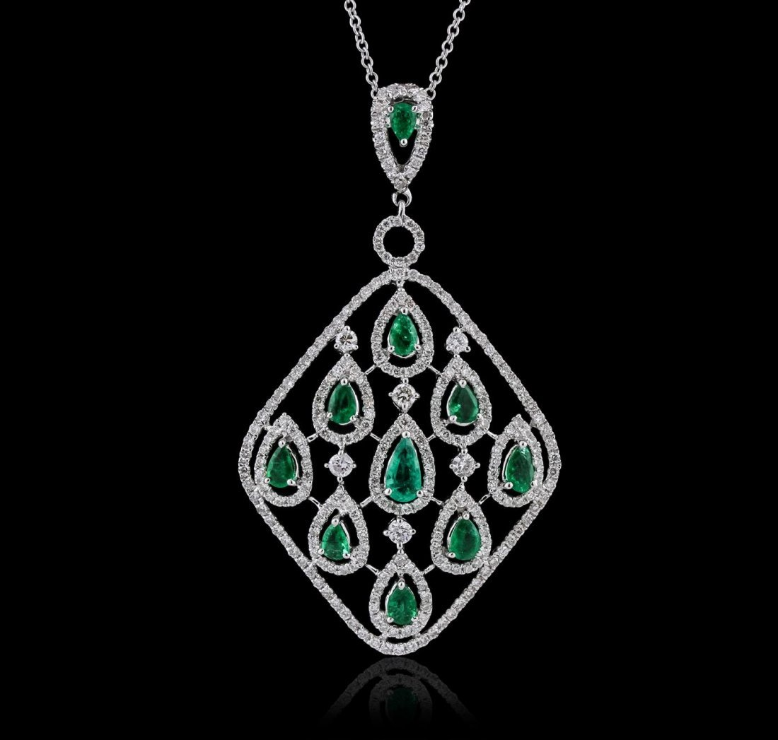18KT White Gold 1.05ctw Emerald and Diamond Pendant