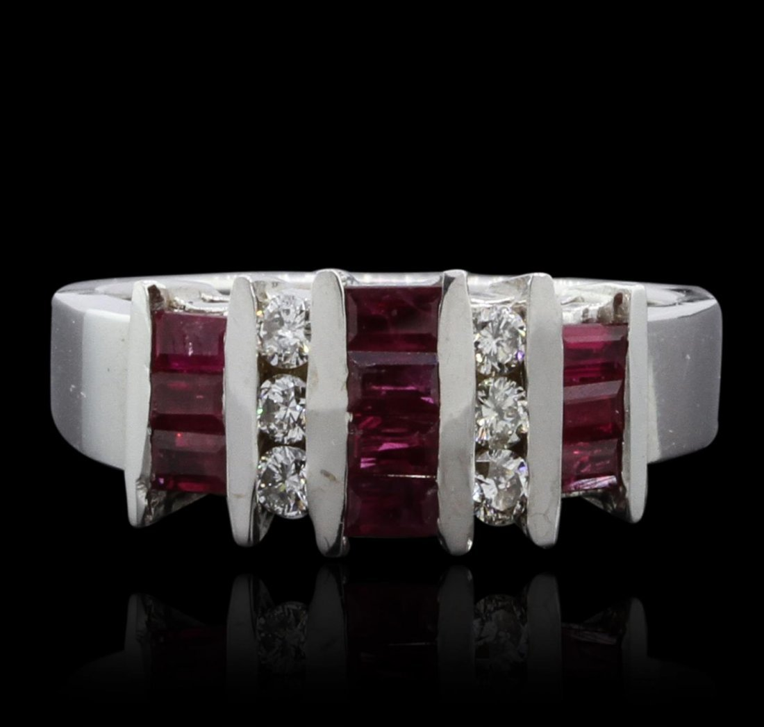 14KT White Gold 0.85ctw Ruby and Diamond Band