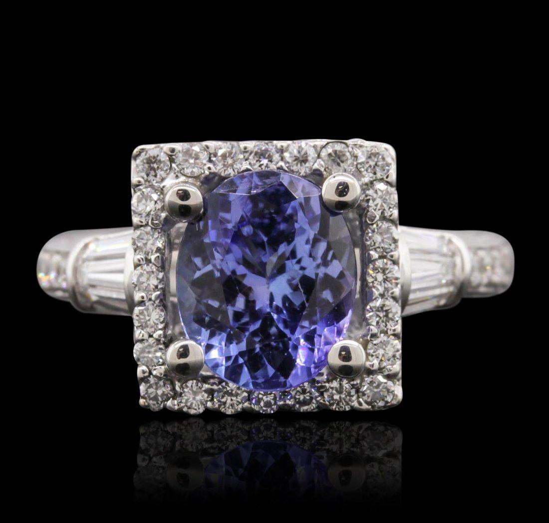 14KT White Gold 2.05ct Tanzanite and Diamond Ring