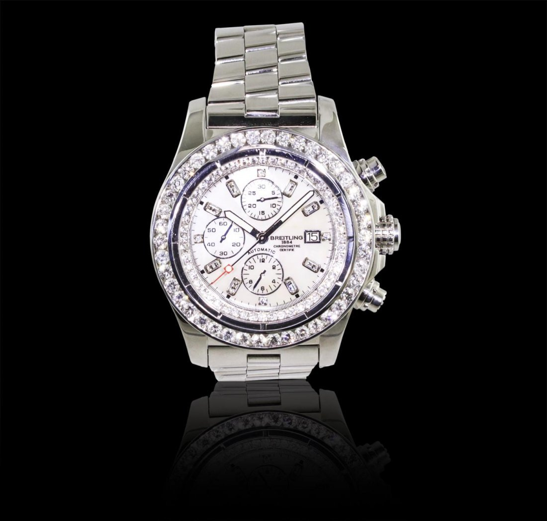Gents Breitling Stainless Steel 6.40ctw Diamond Super