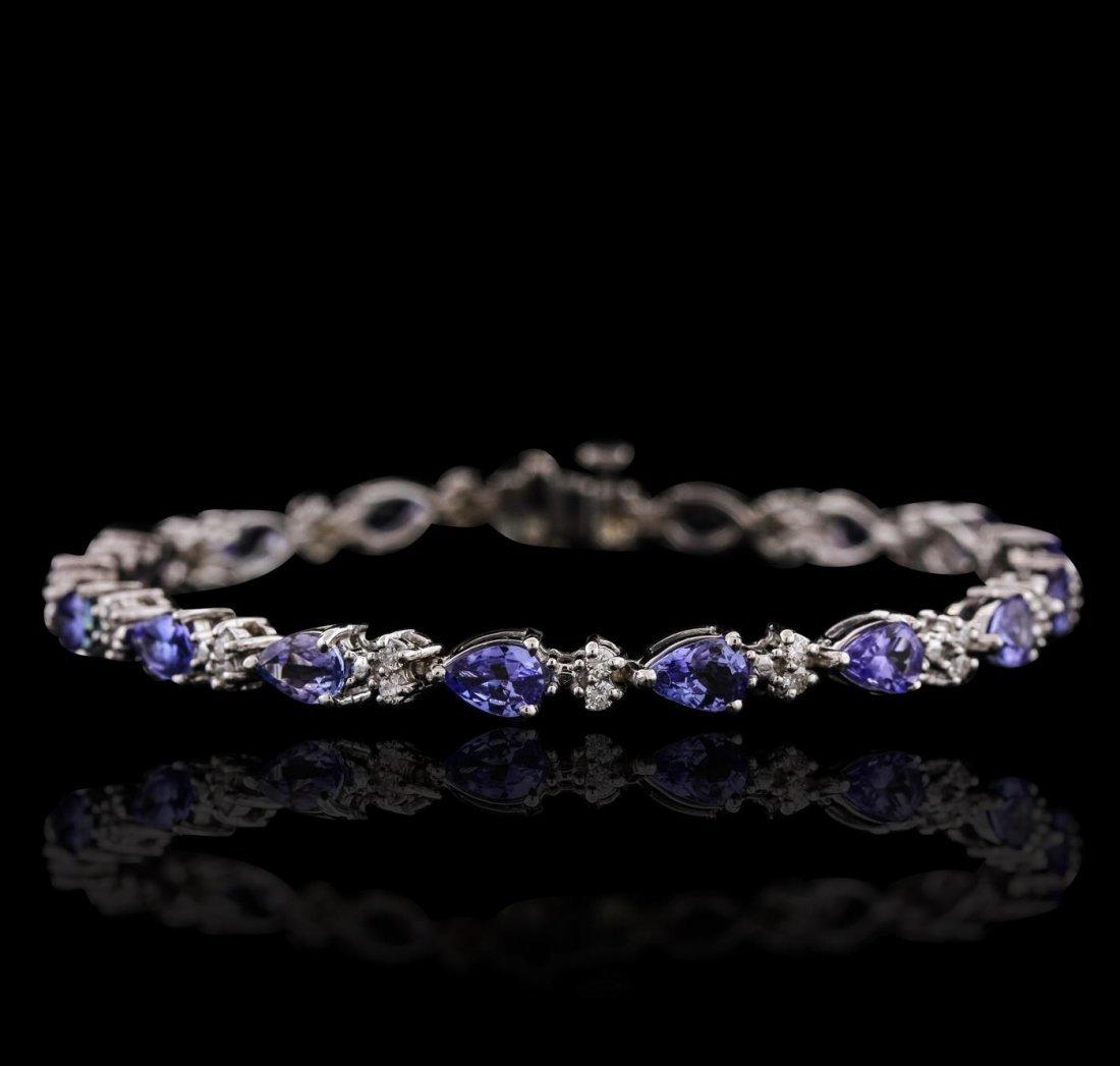 14KT White Gold 7.14ctw Tanzanite and Diamond Bracelet