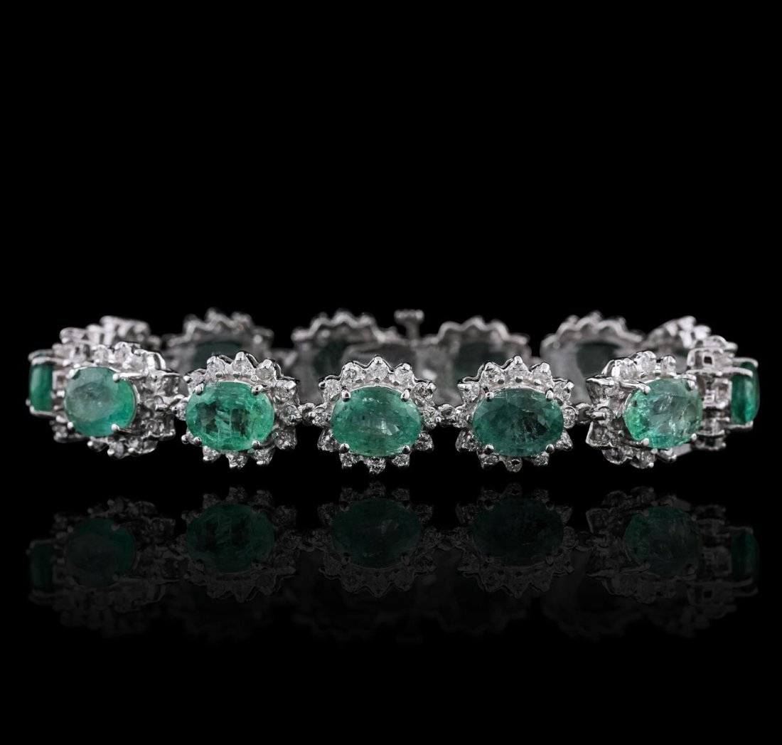 14KT White Gold 22.23ctw Emerald and Diamond Bracelet