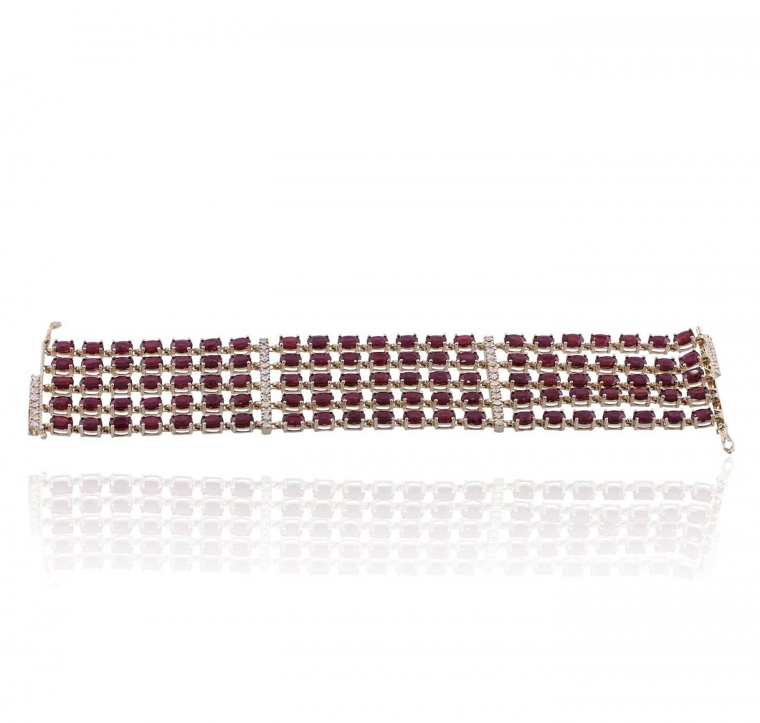14KT Yellow Gold 60.90ctw Ruby and Diamond Bracelet