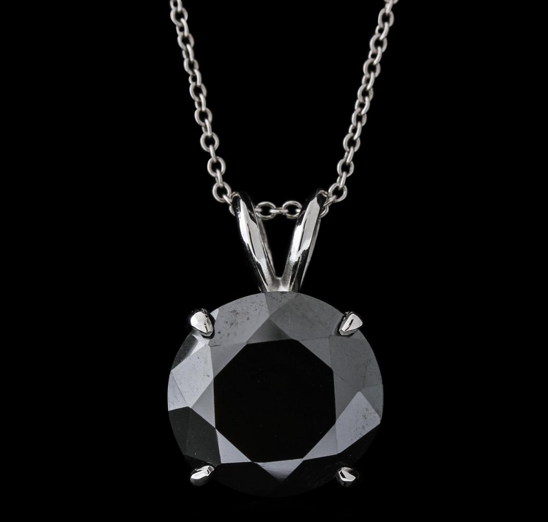 14KT White Gold 9.57ct Black Diamond Pendant With Chain