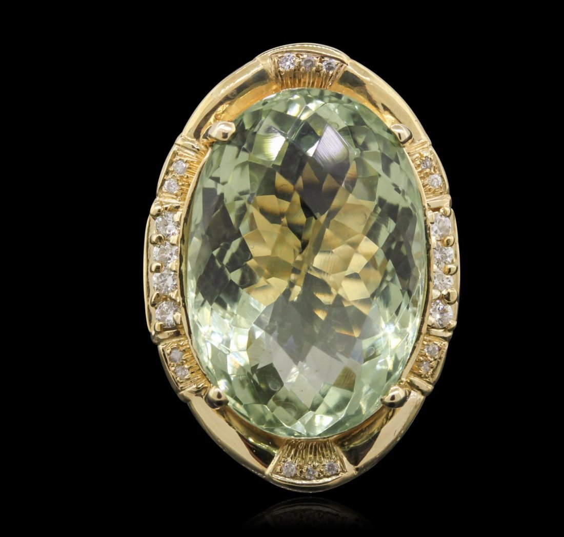 14KT Yellow Gold 27.45ct Green Quartz and Diamond Ring