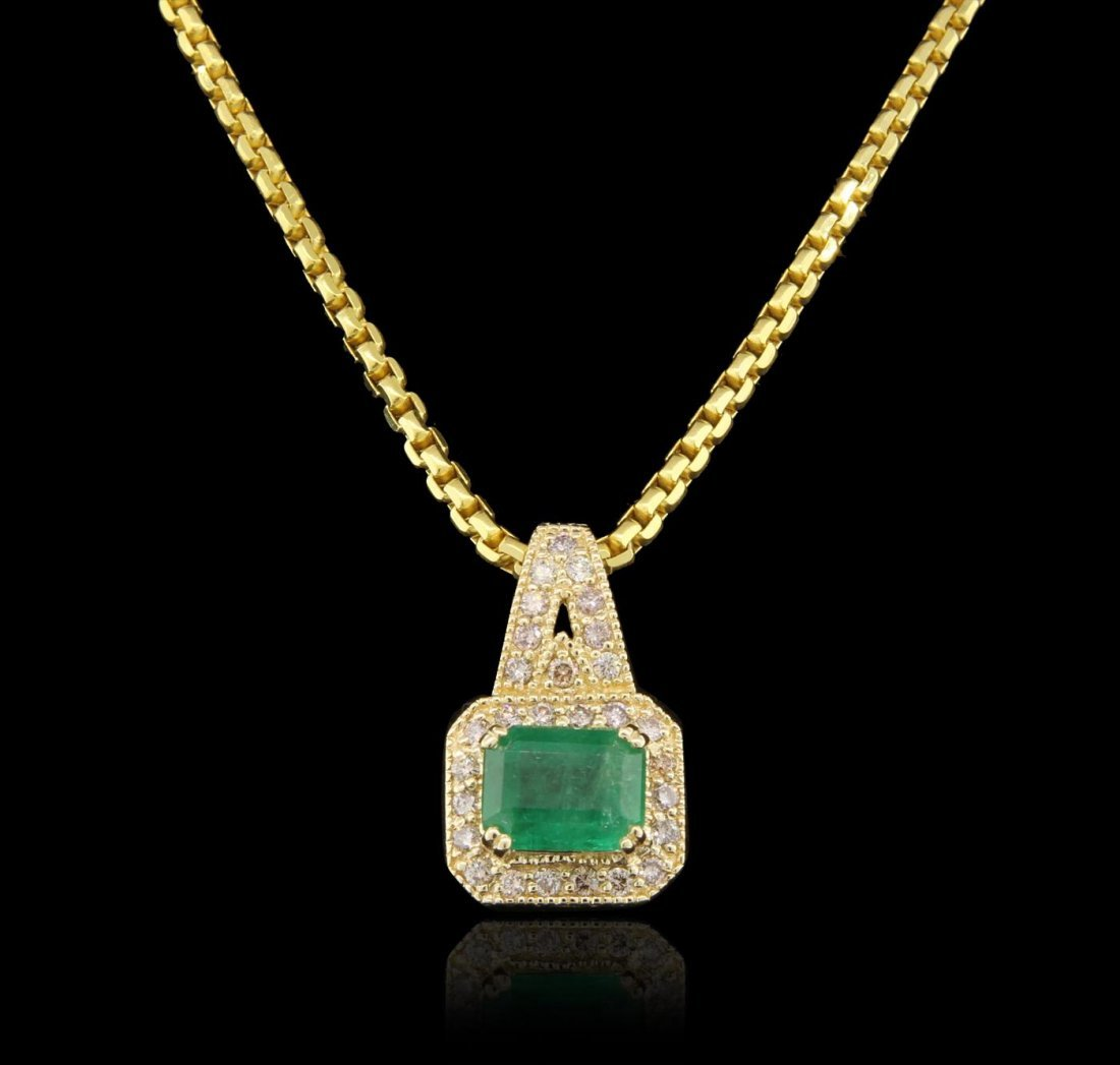 14KT Yellow Gold 2.73ct Emerald and Diamond Pendant