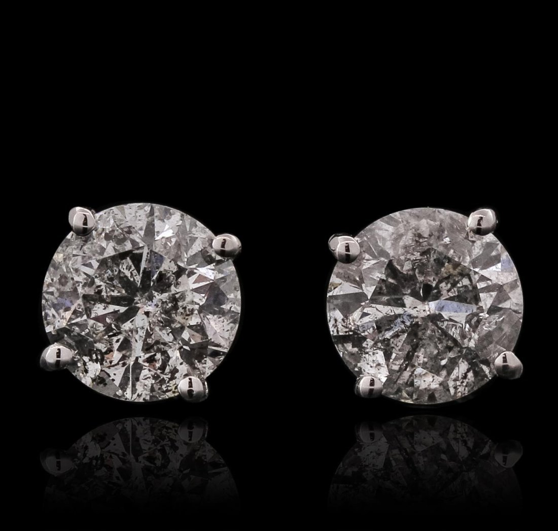 14KT White Gold 1.44ctw Diamond Solitaire Earrings