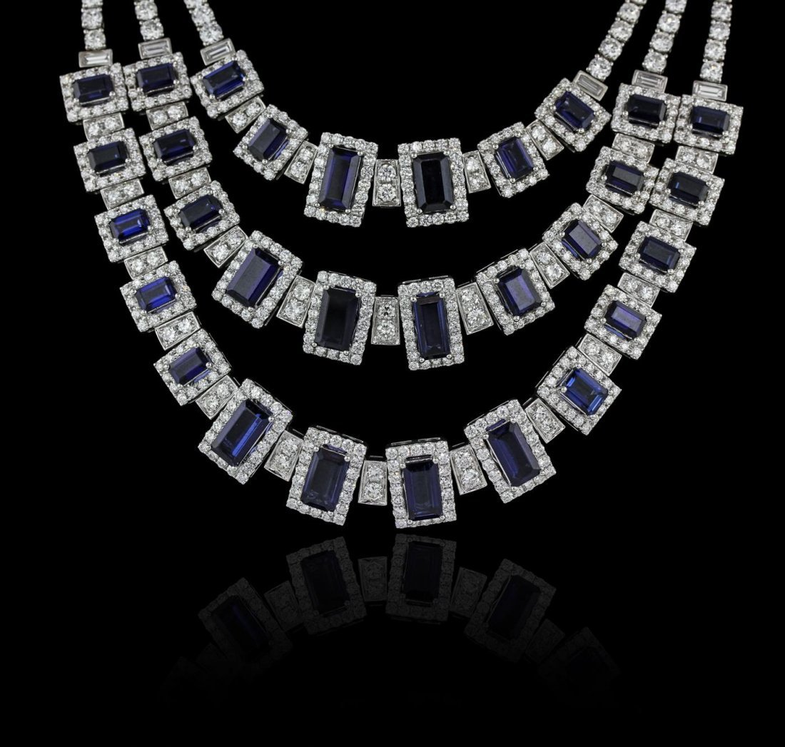 18KT White Gold 38.47ctw Sapphire and Diamond Necklace