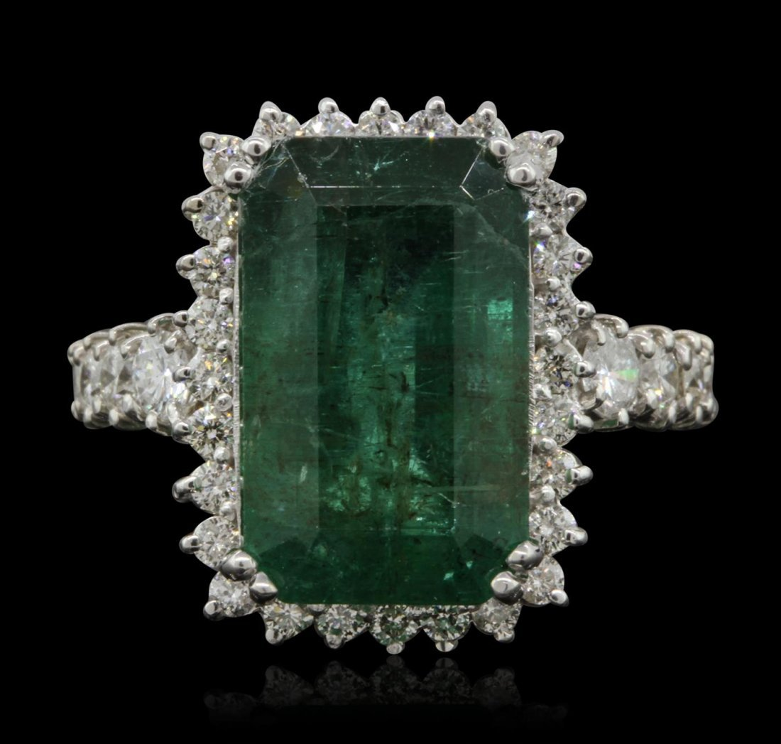 14KT White Gold 11.58ct Emerald and Diamond Ring