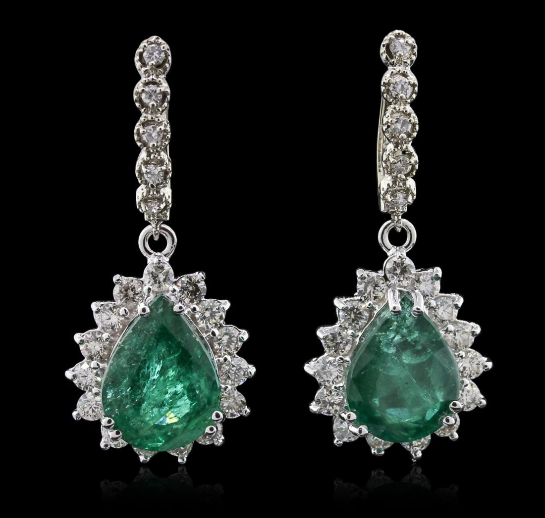 14KT White Gold 11.74ctw Emerald and Diamond Earrings