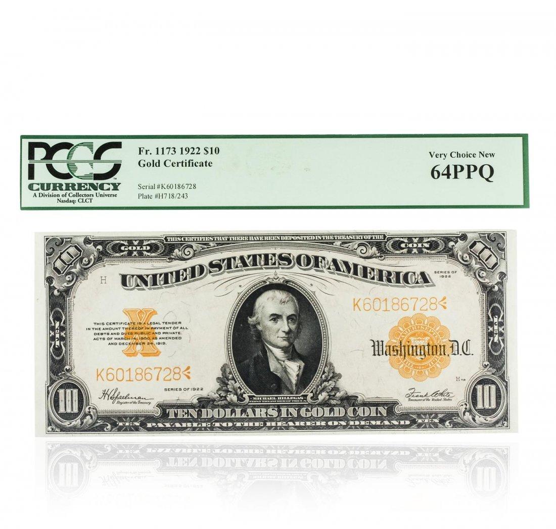 1922 $10 PCGS Gold Certificate