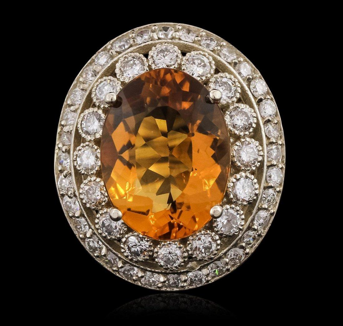 14KT White Gold 15.39ct Citrine and Diamond Ring