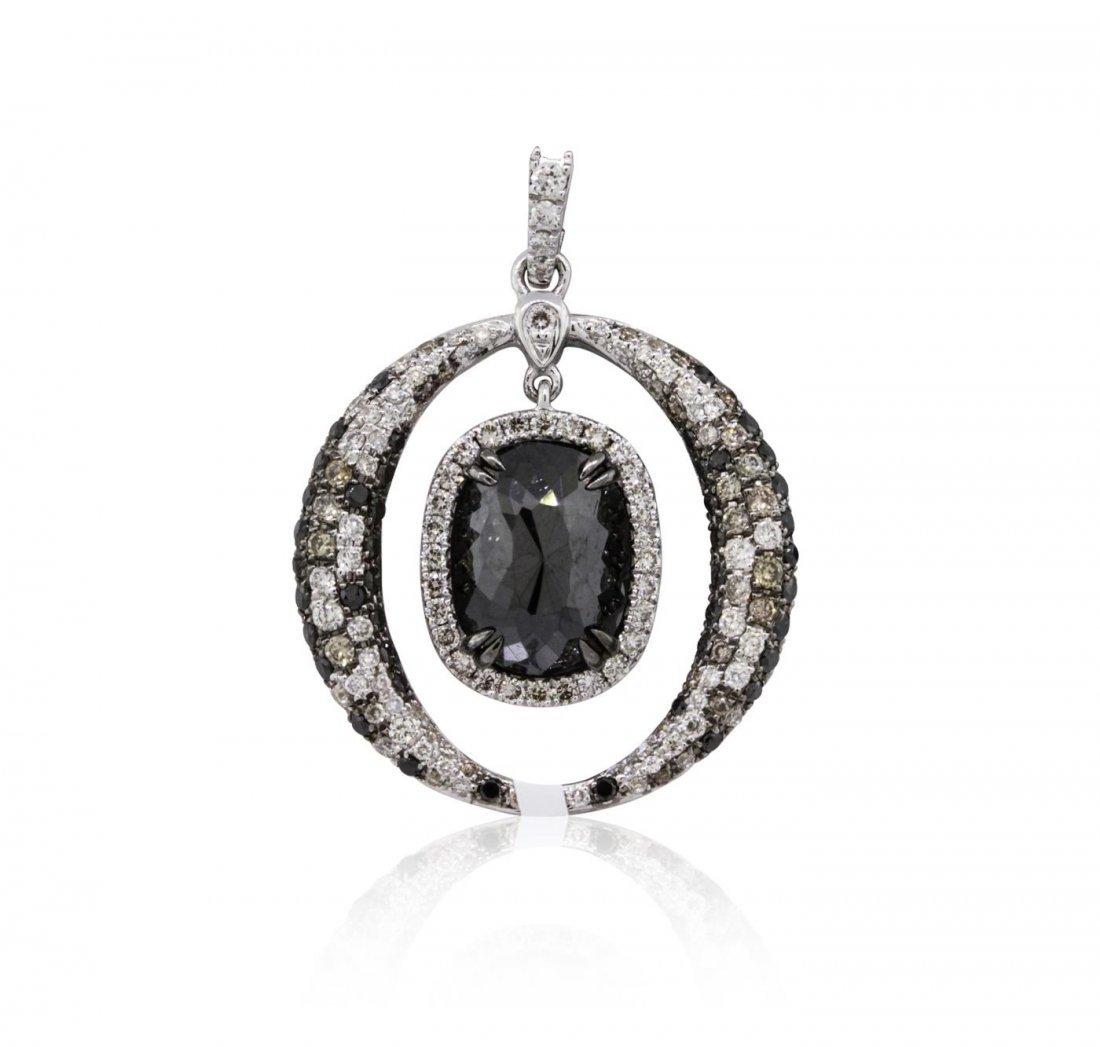 18KT White Gold 3.94ctw Black Diamond Pendant