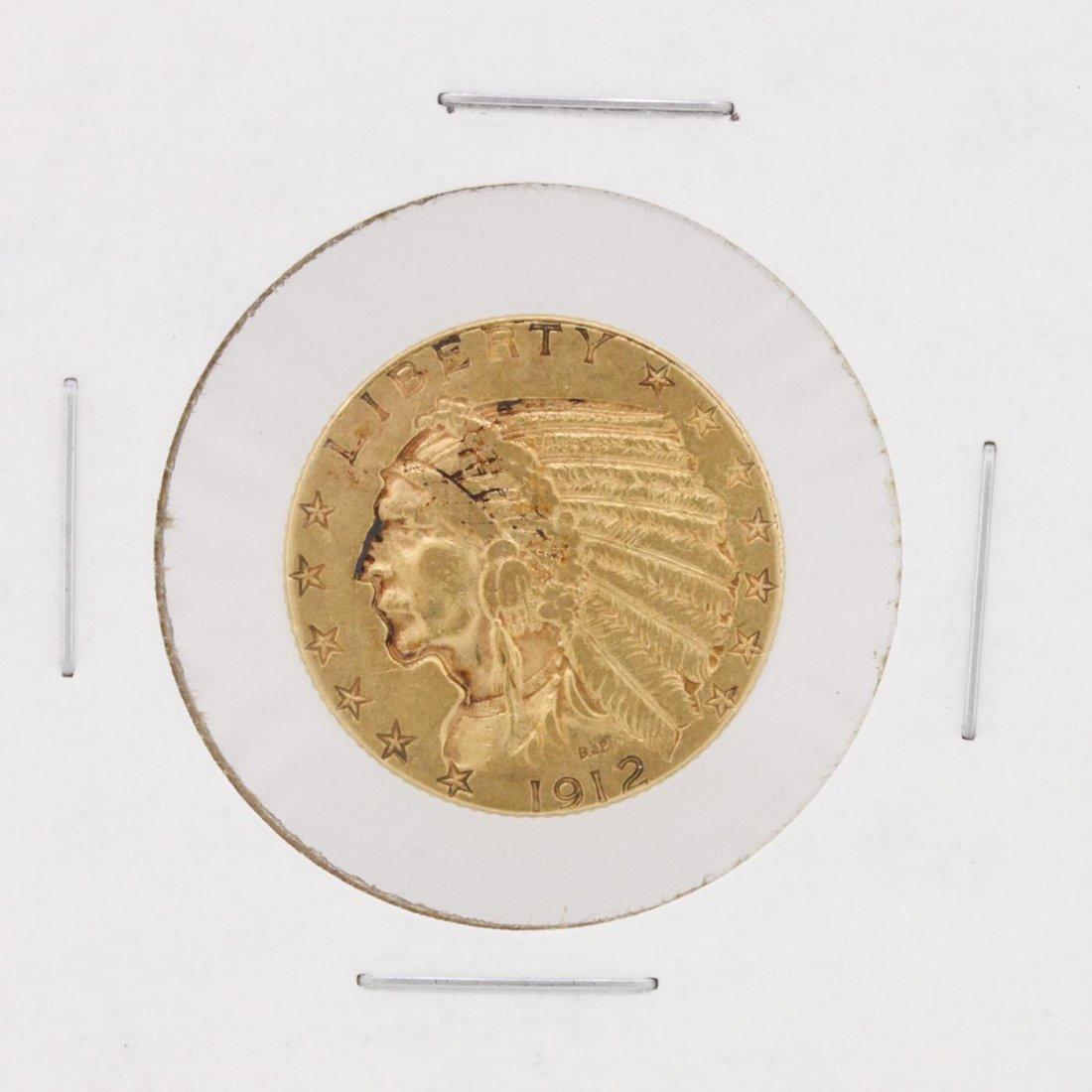 1912 $5 XF Indian Head Half Eagle Coin