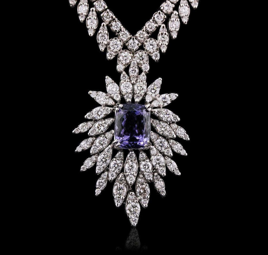 14KT White Gold 4.08ct Tanzanite and Diamond Necklace