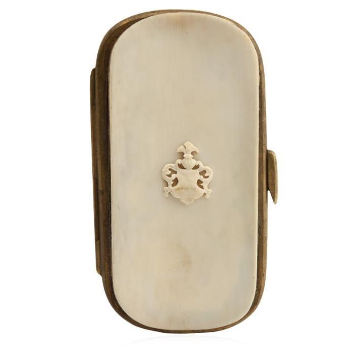 Antique Dieppe Carved Ivory Crest Cigar Case