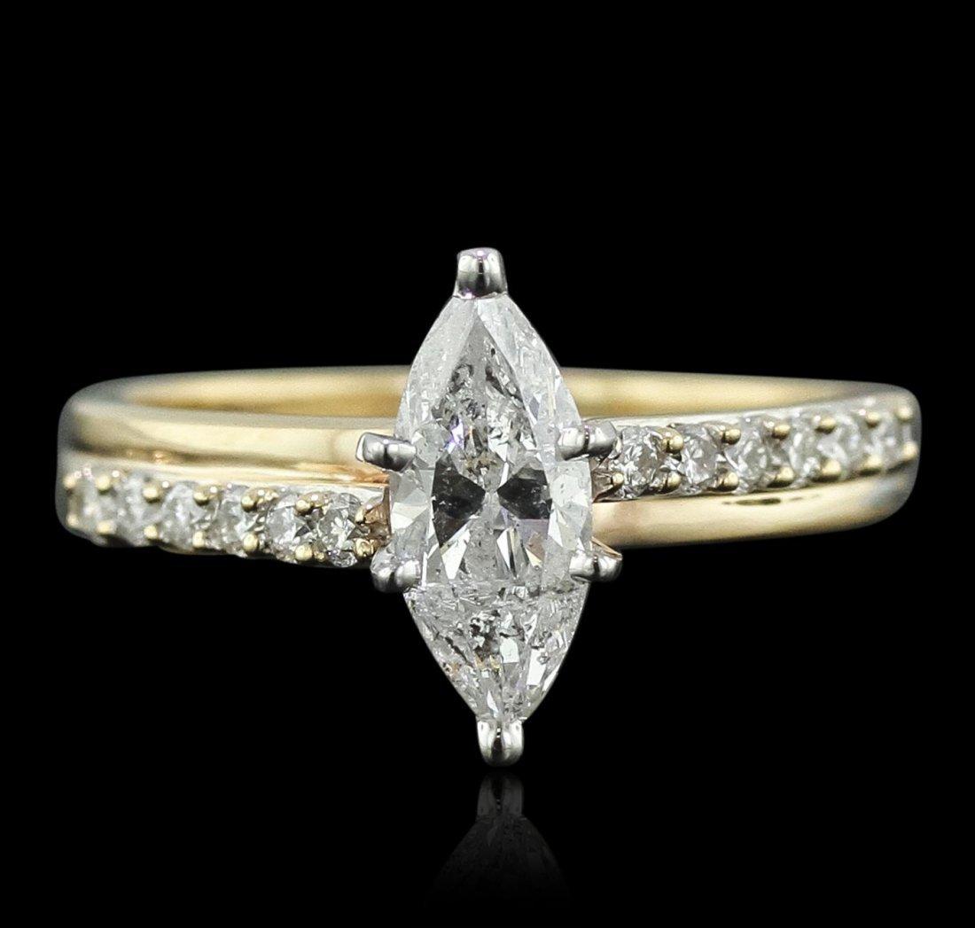 14KT Yellow Gold 1.36ctw Marquise Cut Diamond Ring