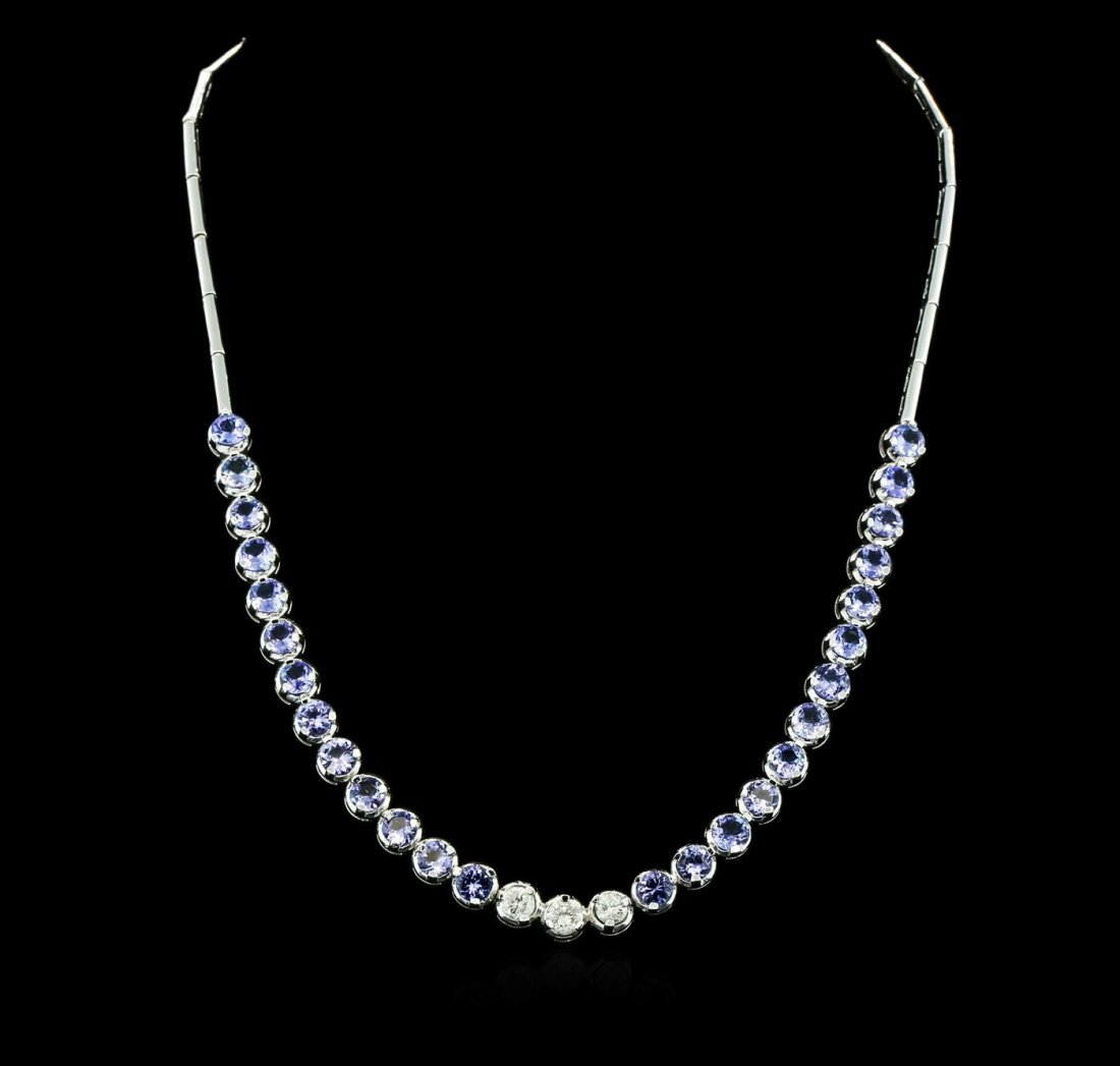 14KT White Gold 12.74ctw Tanzanite and Diamond Necklace